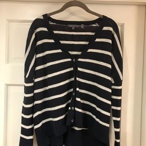 VINCE navy and cream striped cardigan.